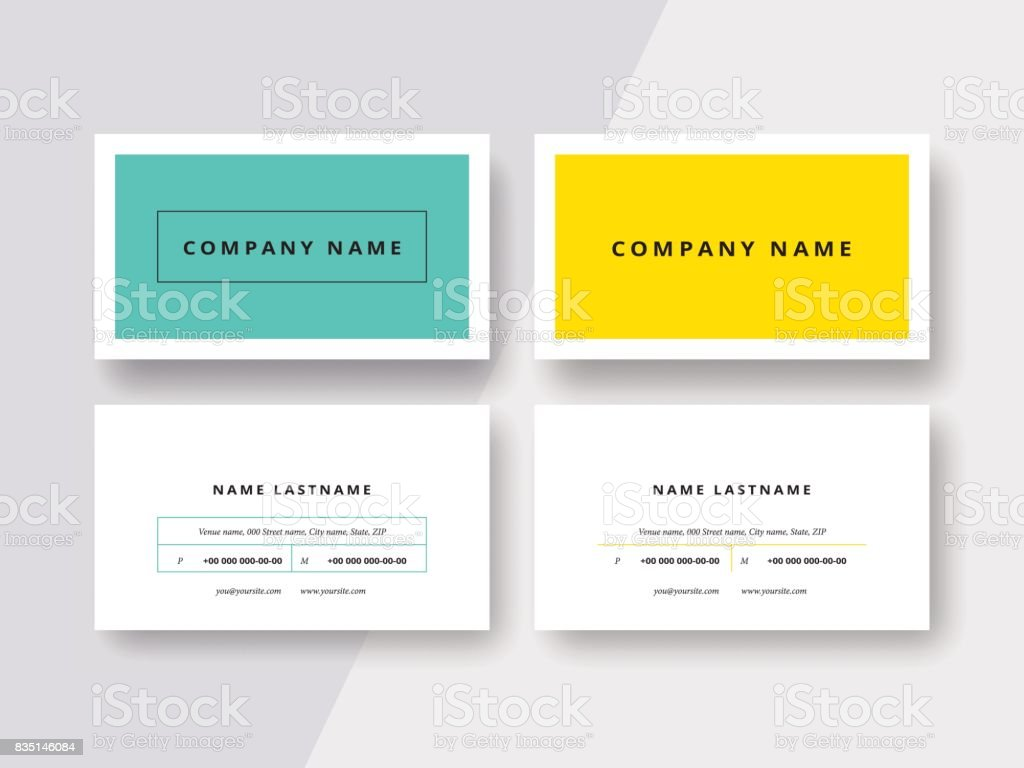 Trendy minimal abstract business card templates. Modern corporate stationary id layout with geometric lines. Vector fashion background design with information sample text. vector art illustration
