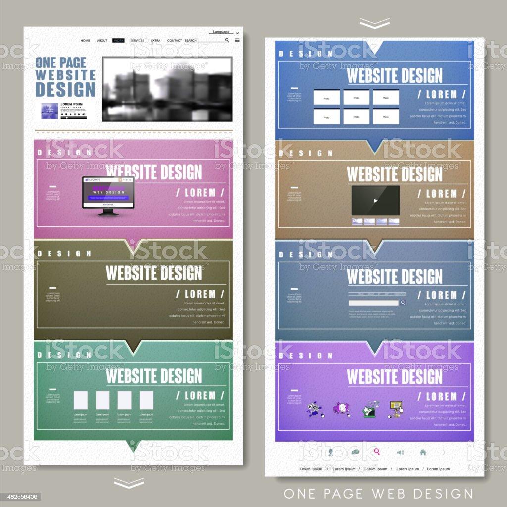 trendy one page website design template vector art illustration