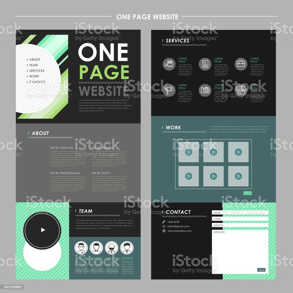 trendy one page website template design vector art illustration