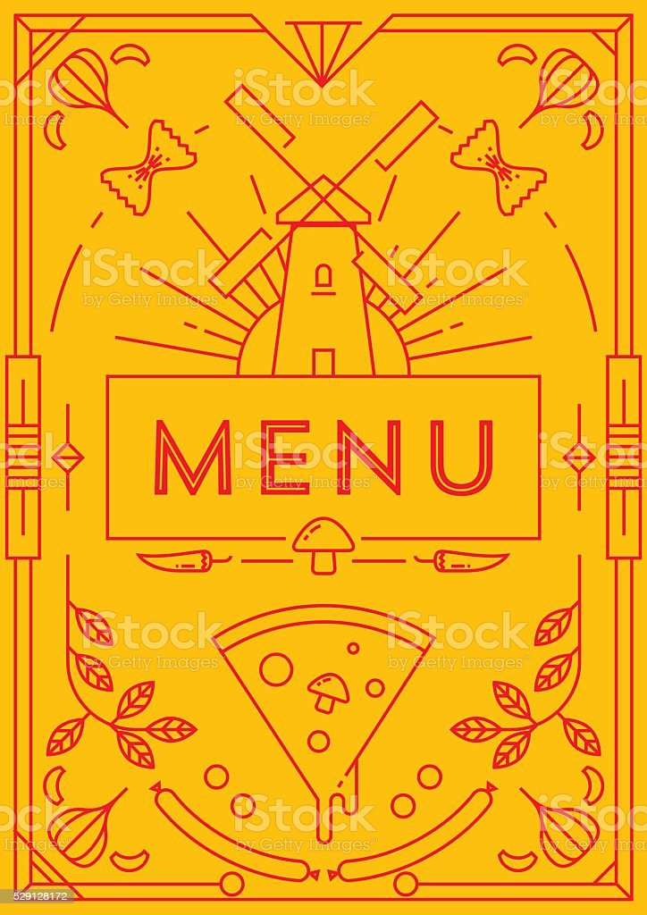 Trendy Pizza Menu Design with Linear Icons vector art illustration
