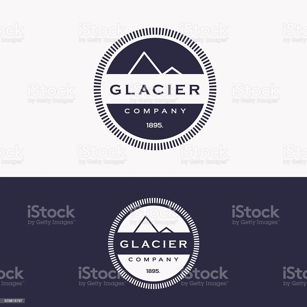 trendy retro glacier mountain insignia logo vector art illustration
