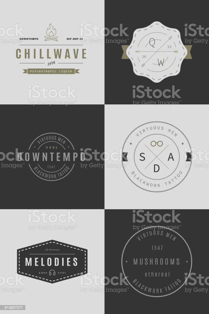 Trendy Retro Vintage Insignias Bundle vector art illustration
