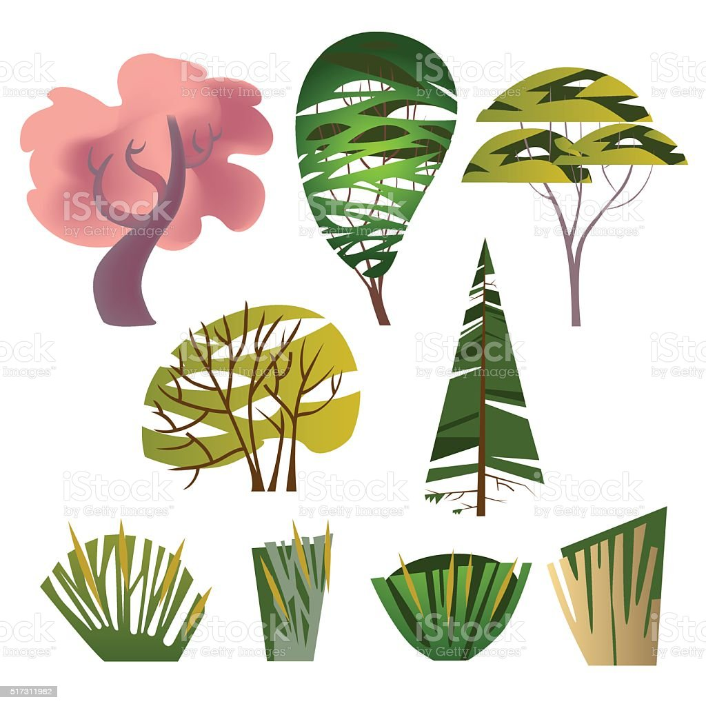 Trendy set of different trees royalty-free stock vector art