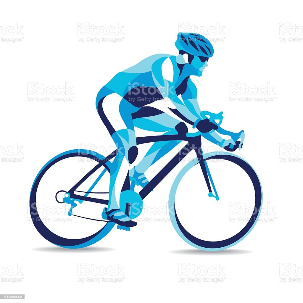 Trendy stylized illustration movement, bicycle race, line vector silhouette of  . royalty-free stock vector art