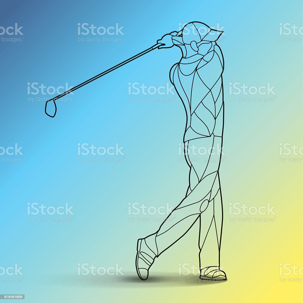 Trendy stylized illustration movement, golf player, golfer, line art vector royalty-free stock vector art