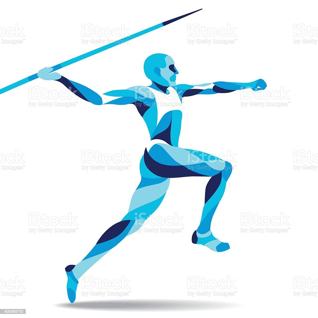Trendy stylized illustration movement, javelin-throwing, line vector silhouette of royalty-free stock vector art