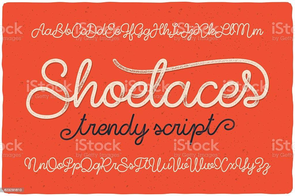 Trendy textured one line handwritten font script named 'Shoelaces' vector art illustration