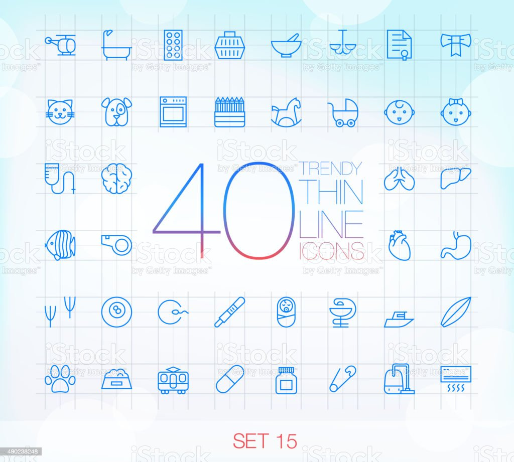 40 Trendy Thin Icons for web and mobile Set 15 vector art illustration