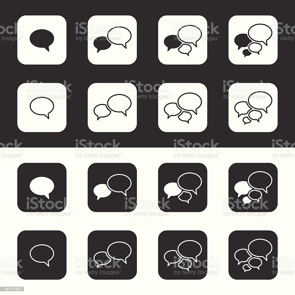 Trendy Thin Icons With Speech Bubbles. Set. Vector royalty-free stock vector art
