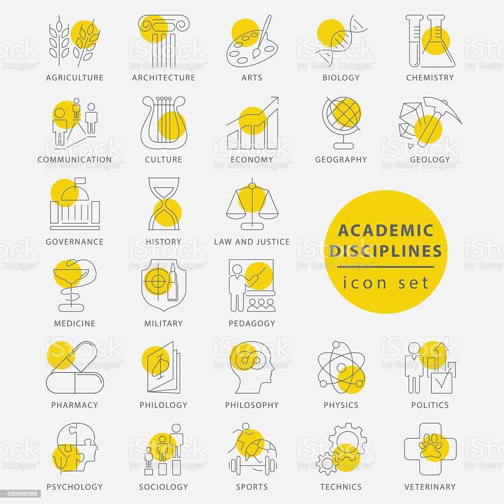 Trendy thin line academic disciplines isolated icon set vector art illustration