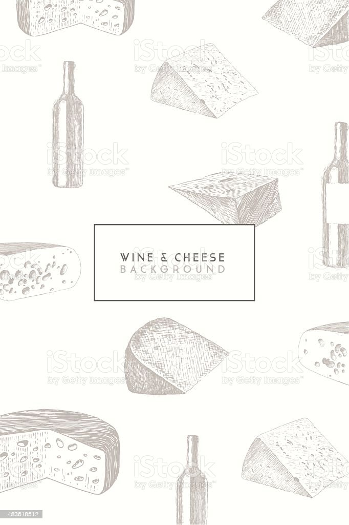 Trendy wine cheese menu design vector hand drawn vector art illustration