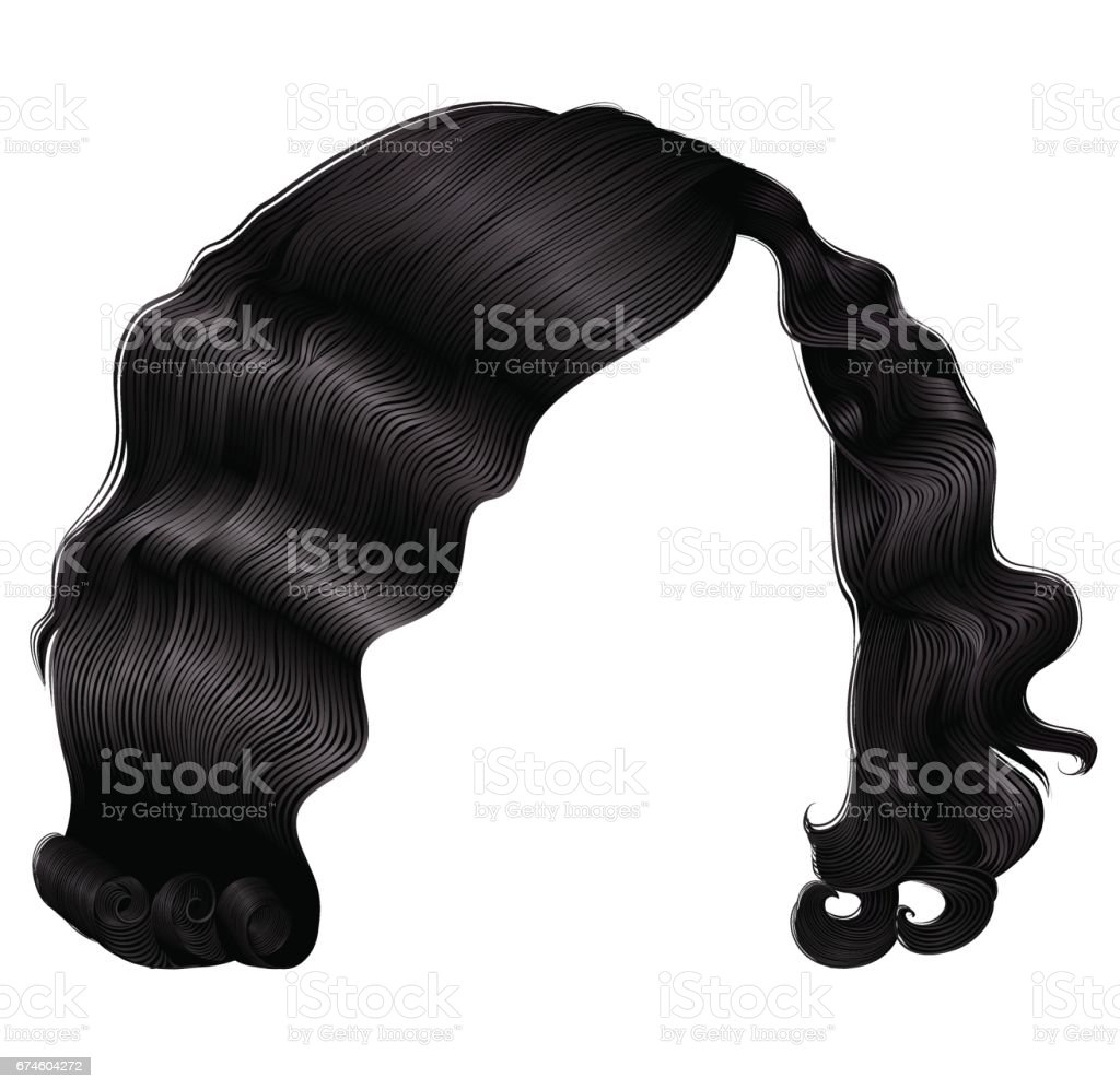 trendy woman short  hairs black  colors .  fashion beauty retro style . realistic  3d . vector art illustration