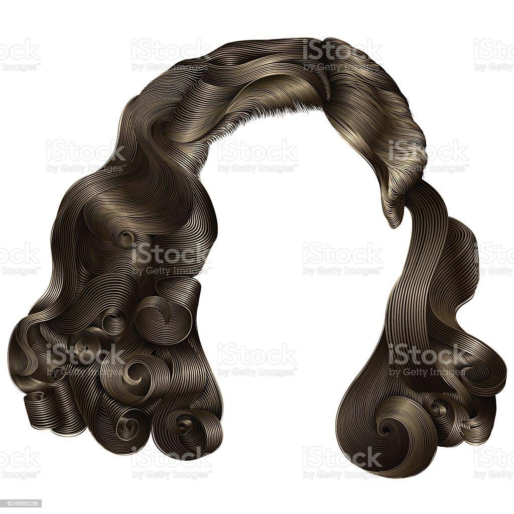 trendy woman short  hairs brown blond  . fringe . fashion beauty style . vector art illustration