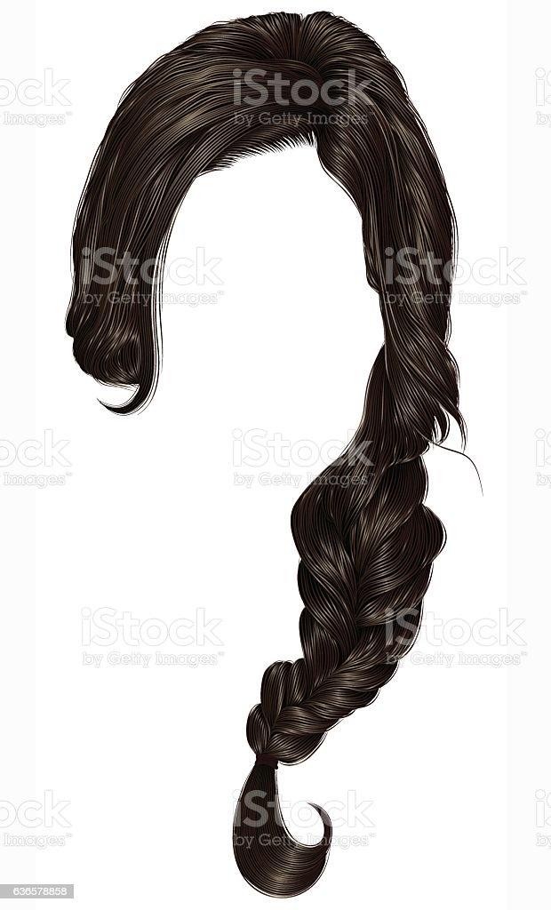 trendy women hairs  pigtail . braid plait .  fashion  style . realistic  3d . vector art illustration