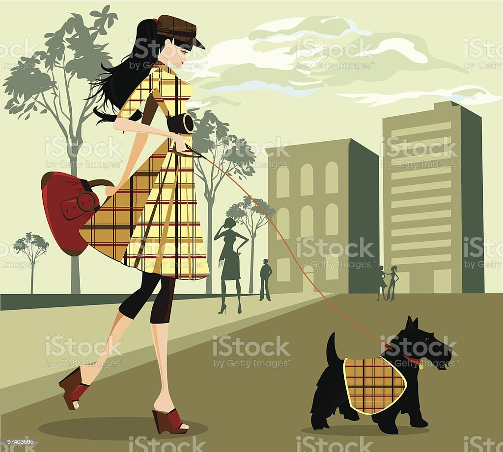 Trendy Young Woman Walking Her Dog Through City vector art illustration