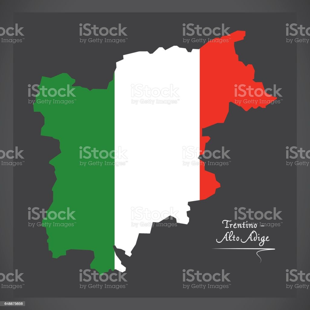 Trentino-Alto Adige map with Italian national flag illustration vector art illustration