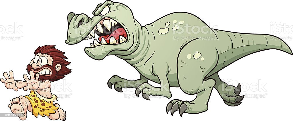 T-rex chasing a caveman vector art illustration