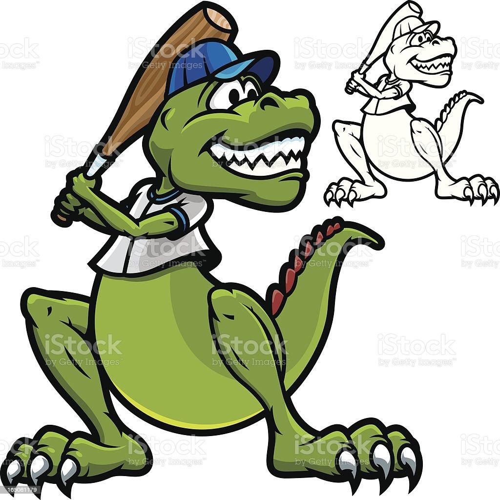 T-Rex Dino Baseball vector art illustration