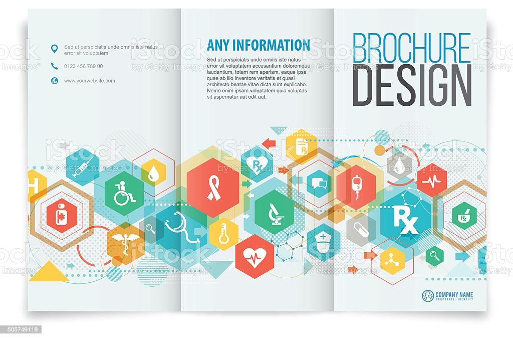 Tri fold brochure design on medical vector art illustration