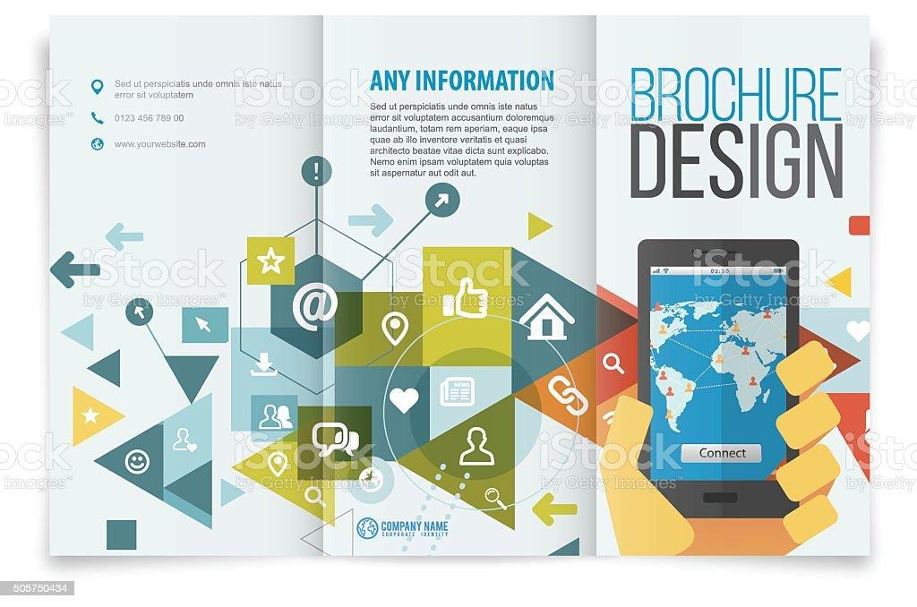Tri fold brochure design on social network vector art illustration