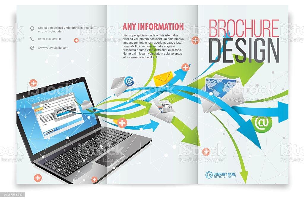 Tri fold brochure design vector art illustration