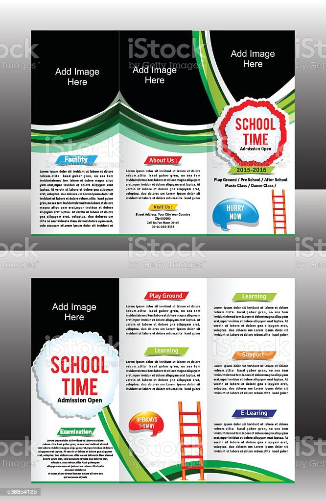 tri fold school brochure template vector art illustration