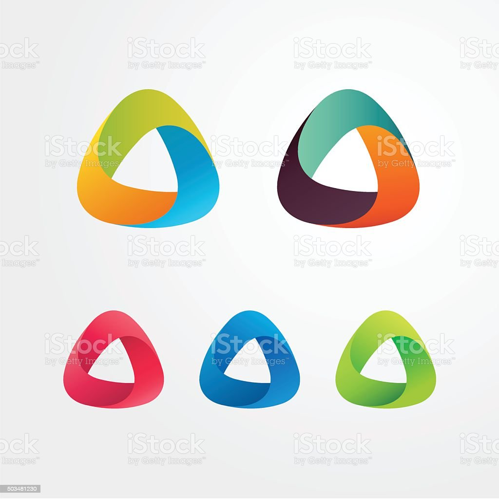 Triangle abstract logo set. Elements for business and icons. vector art illustration