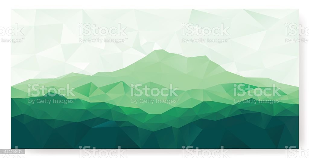 Triangle background with green mountain vector art illustration