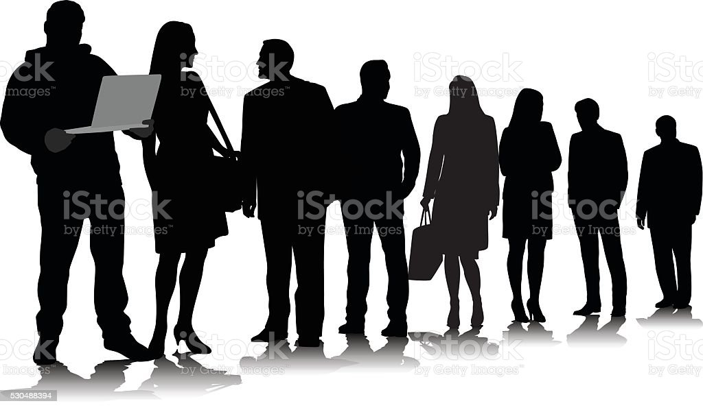 Triangle Crowd Lineup Waiting vector art illustration