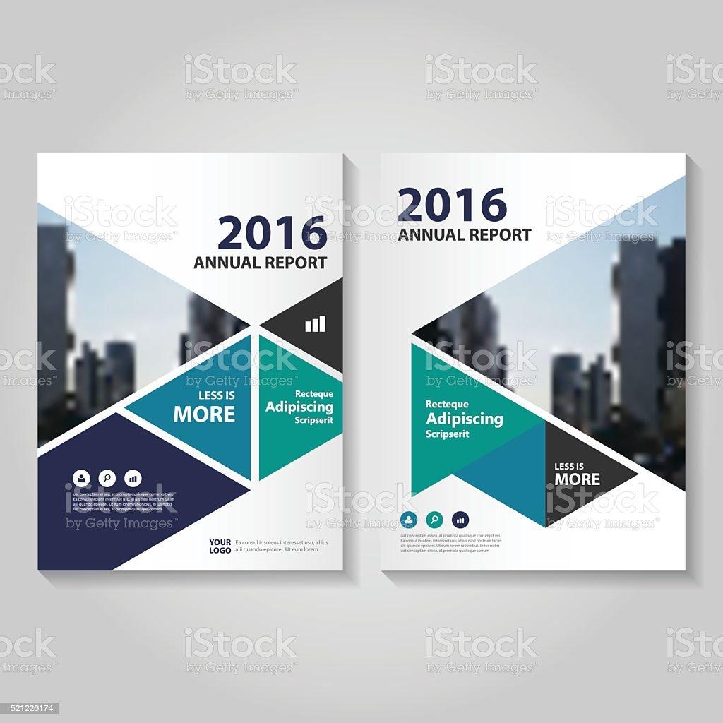 トライアングルグリーン青いベクトルのパンフレット、年次レポートのリーフレットフライヤーテンプレート ベクターアートイラスト