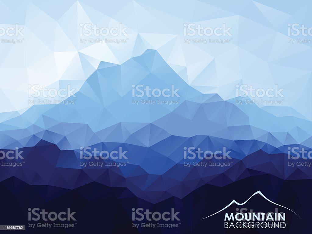 Triangle  low poly polygon geometrical background with blue mountain vector art illustration