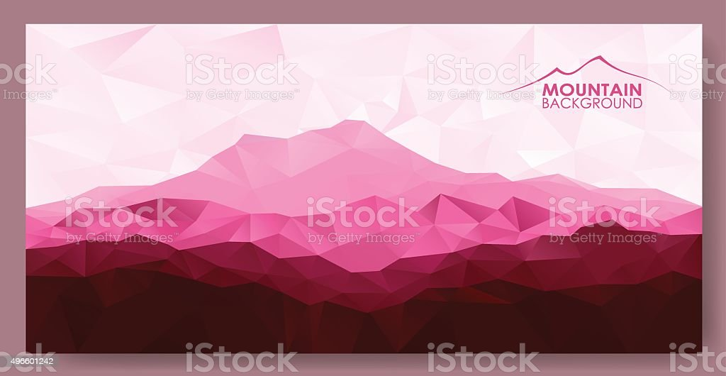 Triangle  low poly polygon geometrical background with red mountains vector art illustration