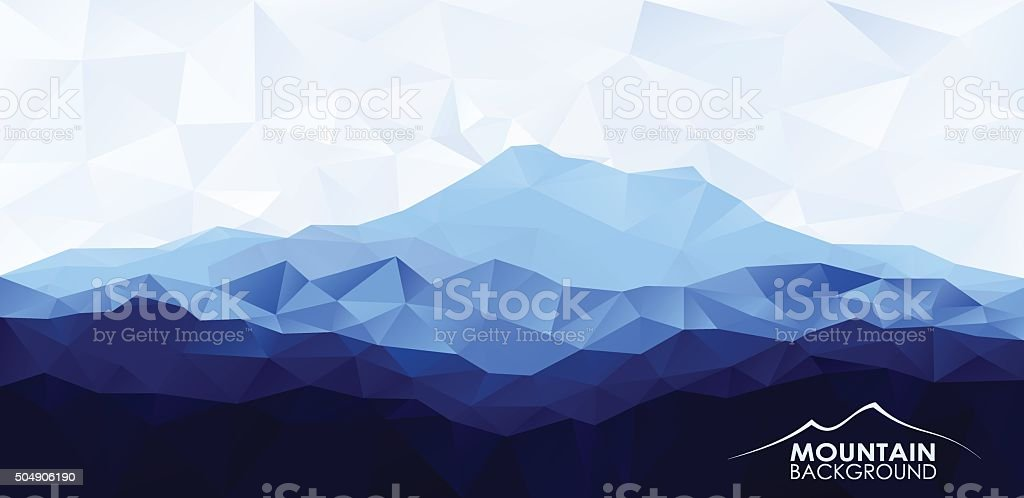 Triangle low poly polygonal background with blue mountain vector art illustration
