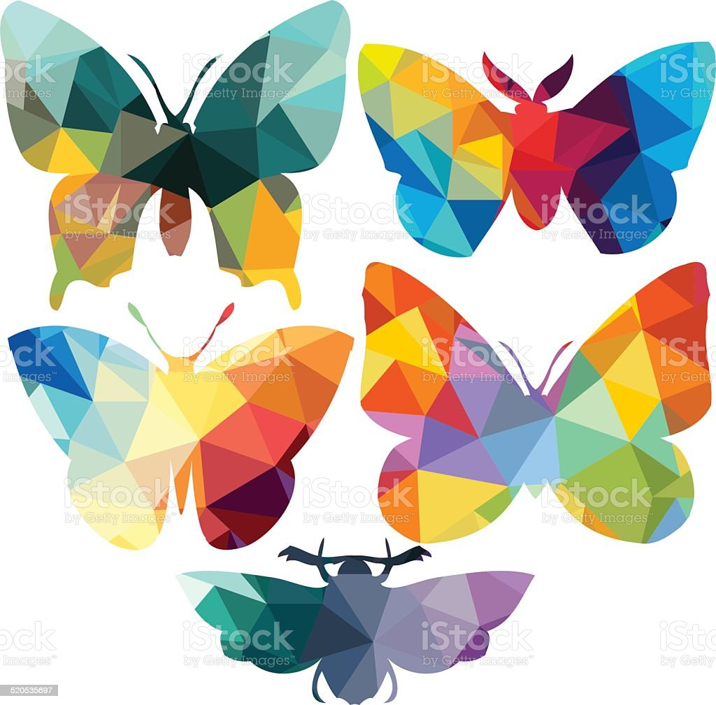 Triangle polygonal silhouettes of butterfly vector art illustration