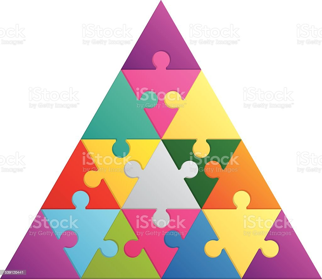 Triangle puzzle - 16 parts vector art illustration