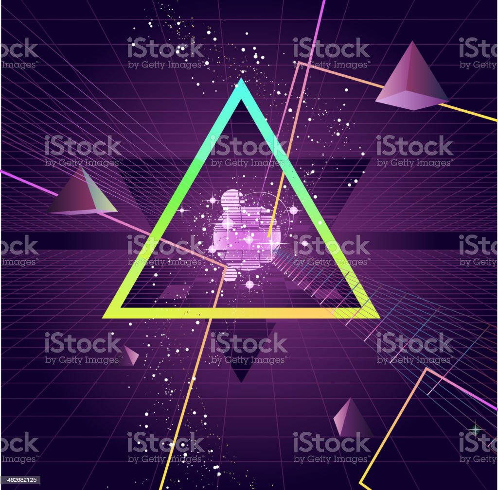 Triangle Pyramid futuristic Retro 80's Style Background vector art illustration