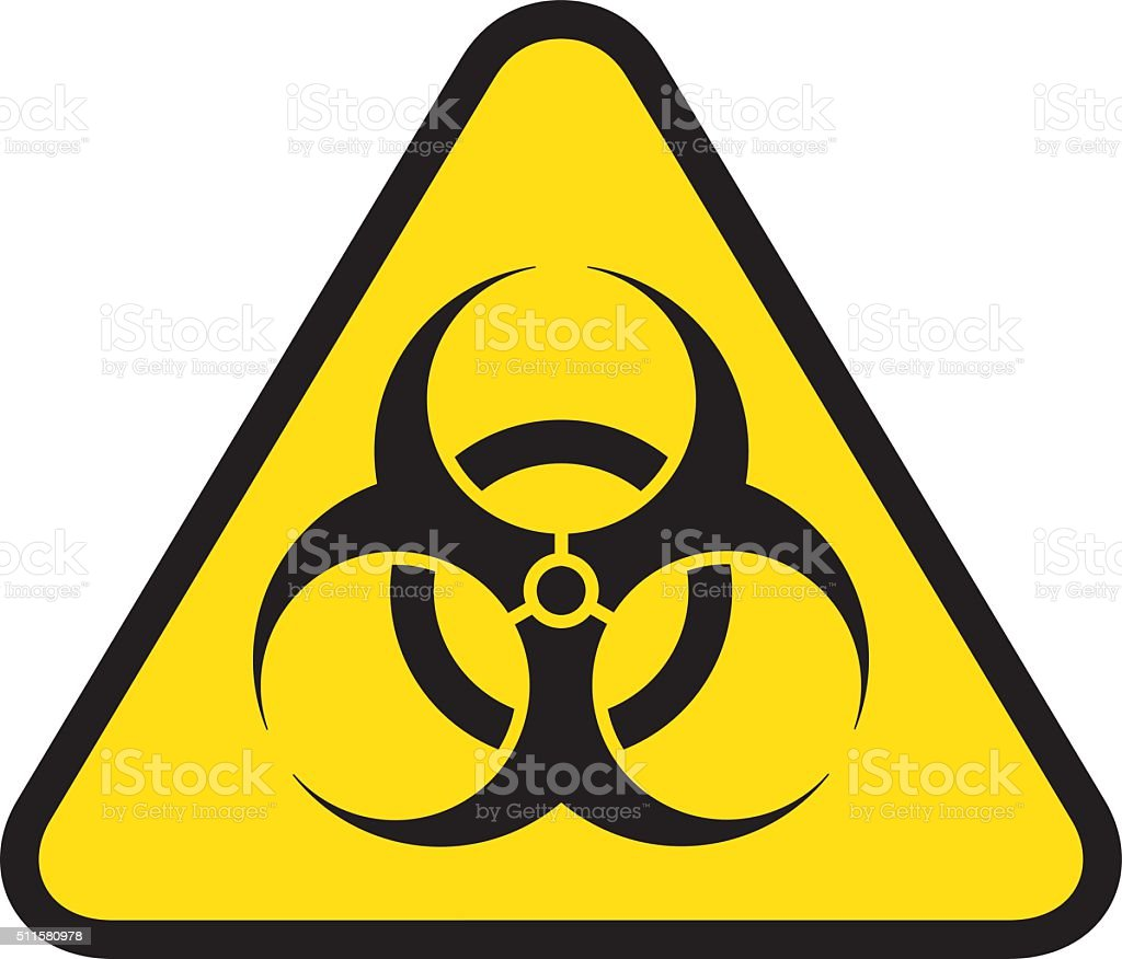 triangle road sign, icon biohazard, hospital and chemical waste vector art illustration