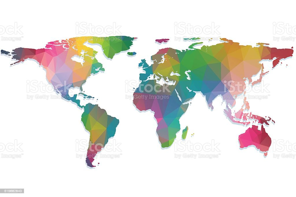 Triangle World Map vector art illustration