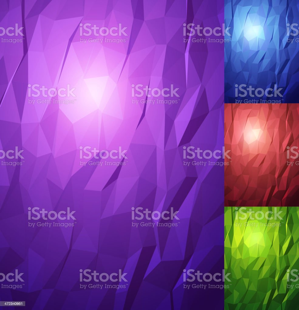 Triangles texture background set. royalty-free stock vector art