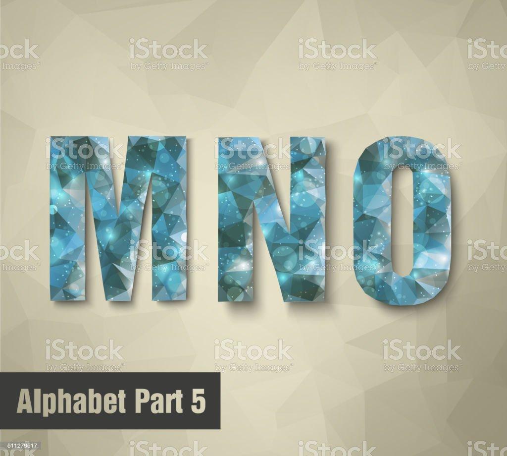 triangular blue alphabet MNO. vector vector art illustration