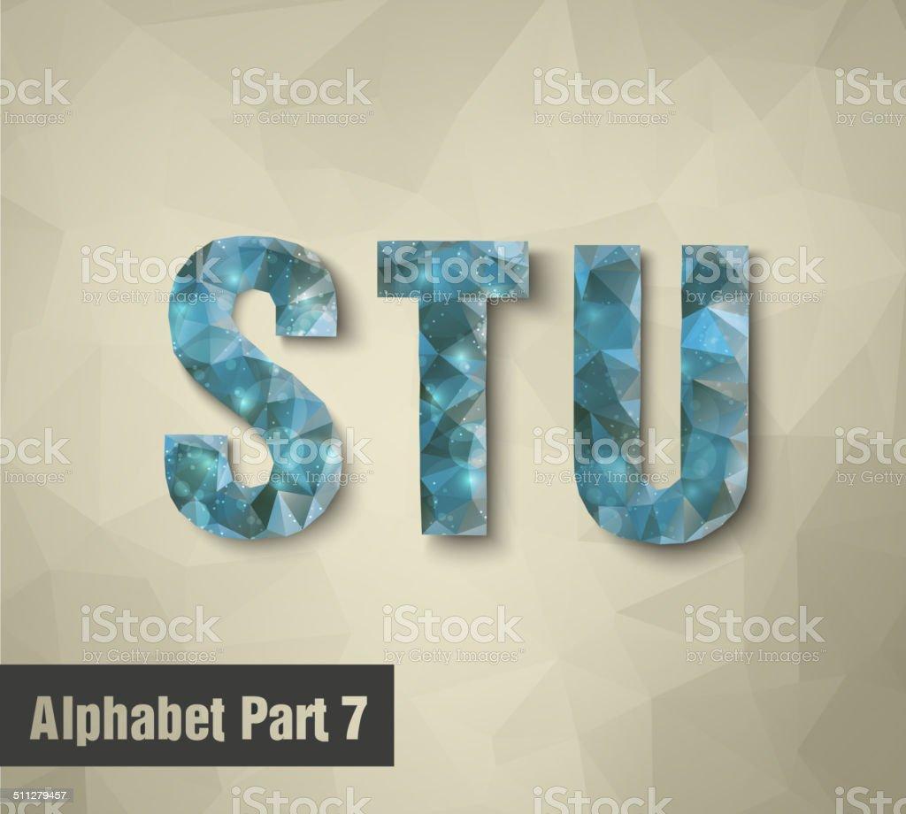triangular blue alphabet STU . vector vector art illustration