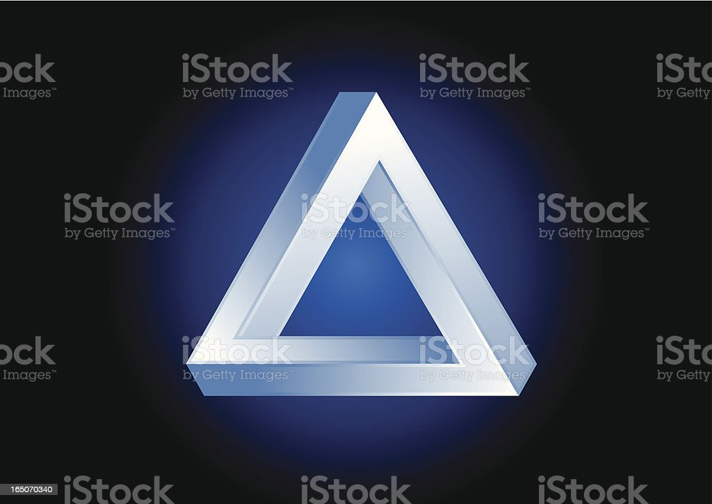 3D triangular illusion on a blue circle royalty-free stock vector art