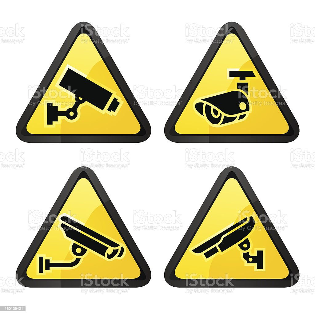 CCTV triangular labels, set symbol security camera royalty-free stock vector art