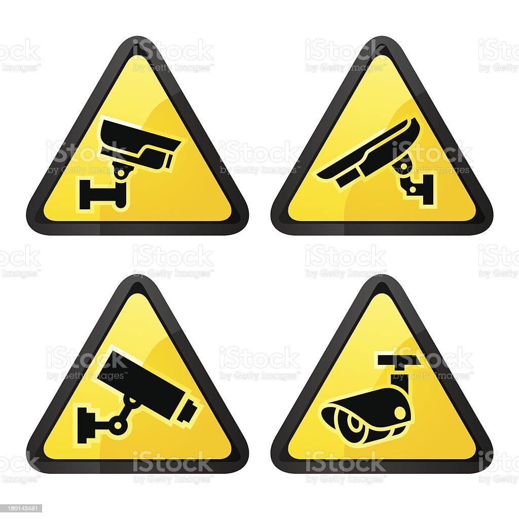 CCTV triangular labels, set symbol video surveillance royalty-free stock vector art