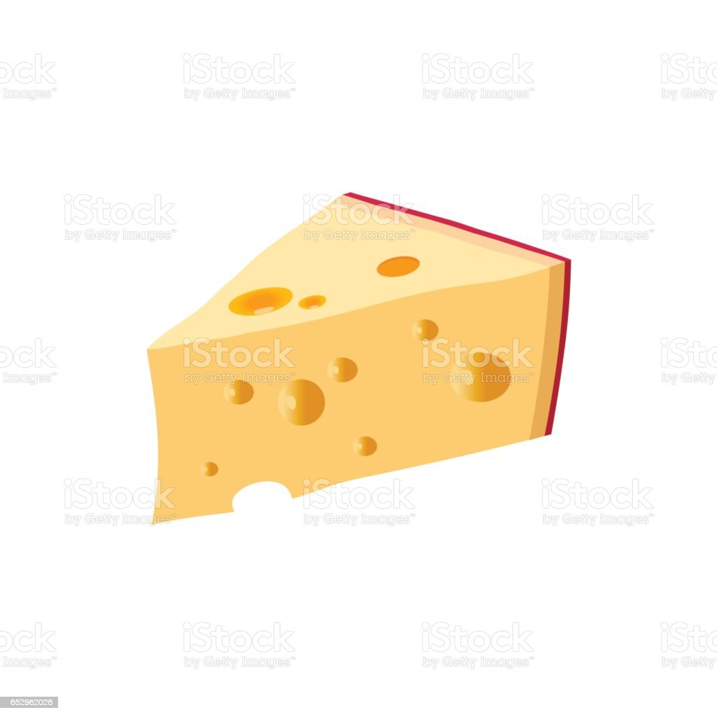 Triangular piece of cheese vector art illustration