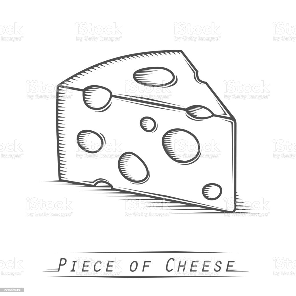Triangular piece of cheese vintage tattoo vector art illustration