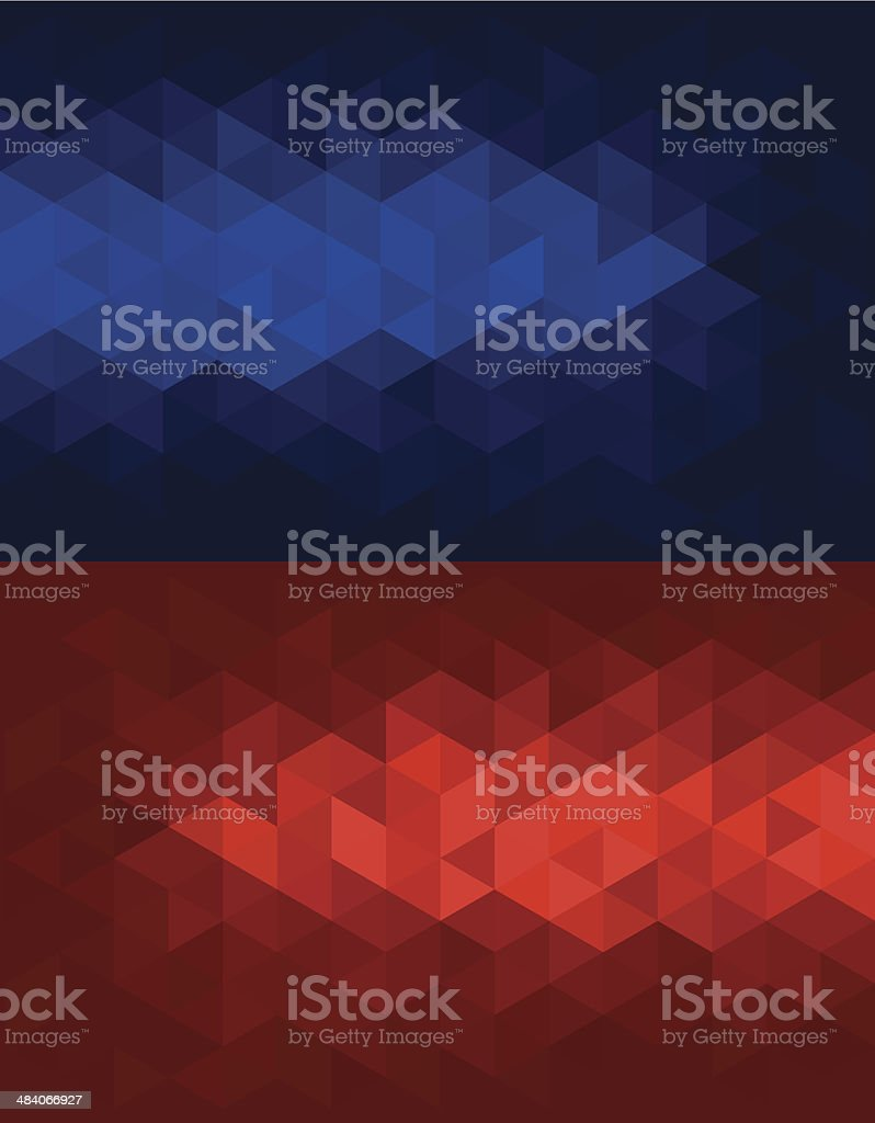 Triangular red and blue backgrounds. vector art illustration