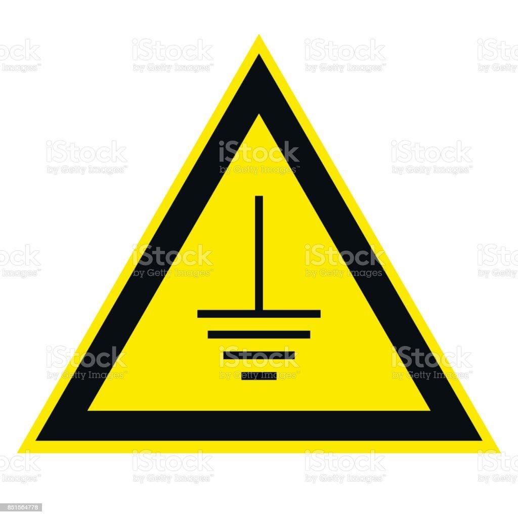 triangular sign grounding electrical equipment vector art illustration