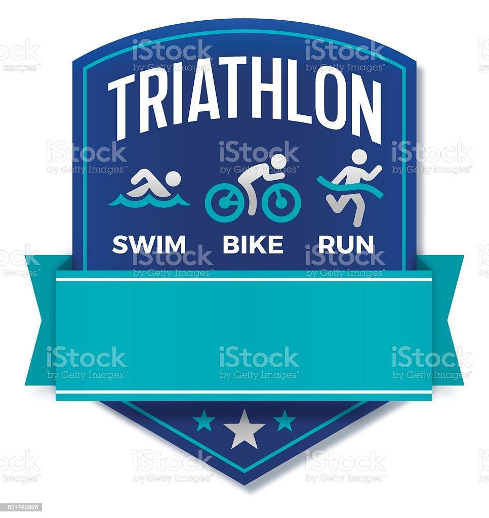 Triathlon Badge vector art illustration