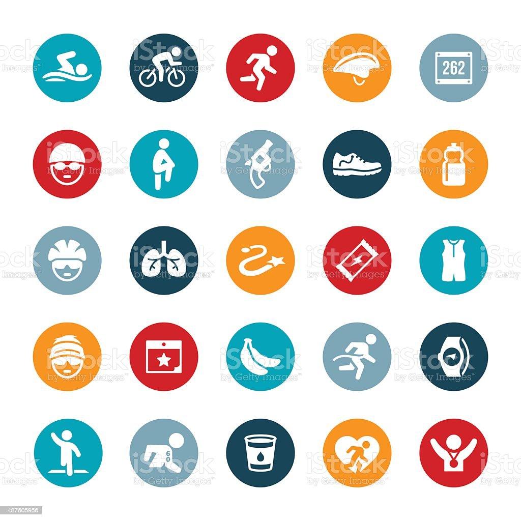 Triathlon Icons vector art illustration